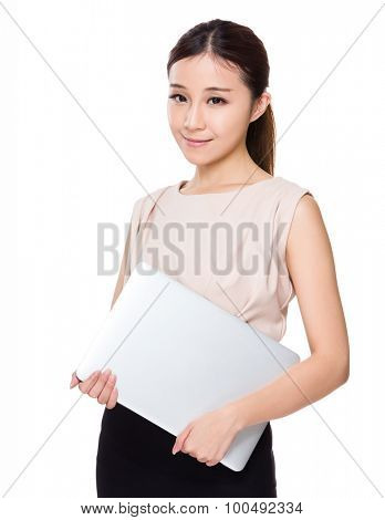 Businesswoman hold with notebook computer
