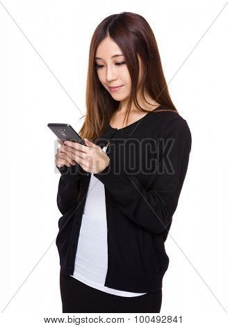 Asian woman read on the mobile phone
