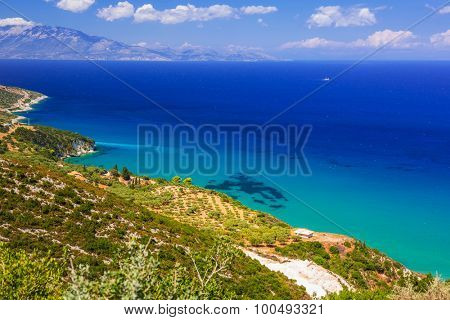Turquise water of the bay on Zakynthos, Greece