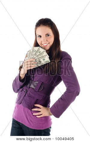 Young female with pile of banknotes (isolated)