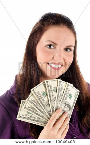 Close up portrait of girl with dollars (isolated)