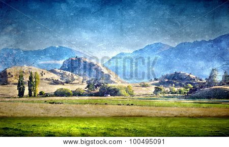 Natural mountain landscape in old grunge style