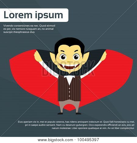 Vampire Cartoon Man Character Flat Vector