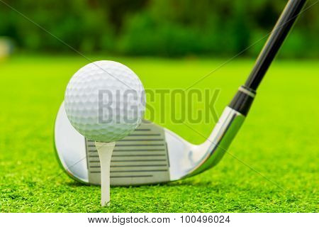 Ball And Putter Close-up On Green Grass