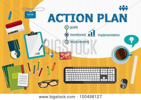 Action Plan And Flat Design Illustration Concepts For Business Analysis, Planning.