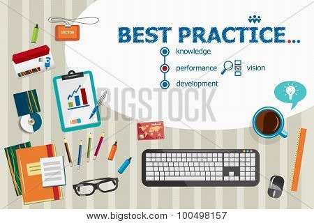 Best Practice And Flat Design Illustration Concepts For Business Analysis