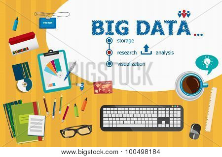 Big Data And Flat Design Illustration Concepts For Business Analysis, Planning