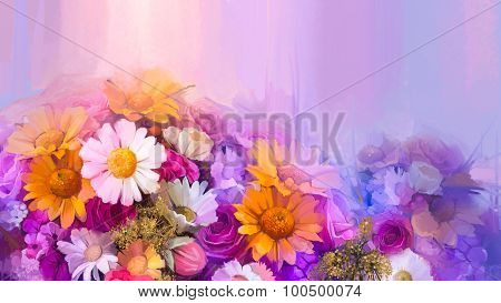 Oil Painting Still Life Of Yellow, Red And Pink Color Flower