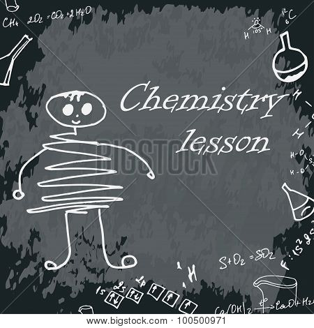 Vector Illustration Of Boy On School Board. Freehand Drawing. Chemistry Lesson