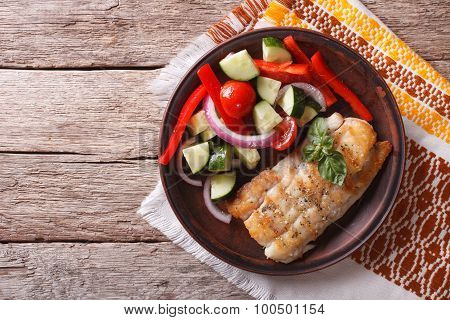 Grilled White Fish And Fresh Vegetable Salad. Horizontal Top View
