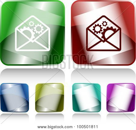 open mail with gears. Internet buttons. Vector illustration.
