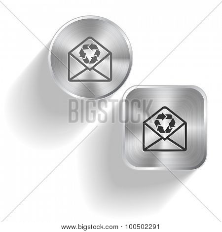 open mail with recycle symbol. Vector set steel buttons