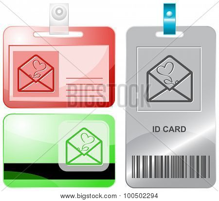 open mail with tulip. Vector id cards.
