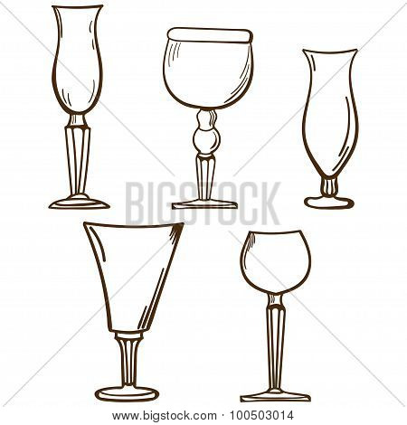 Stemware. Wine Glasses In Sketch Style. Vintage Glass Illustration