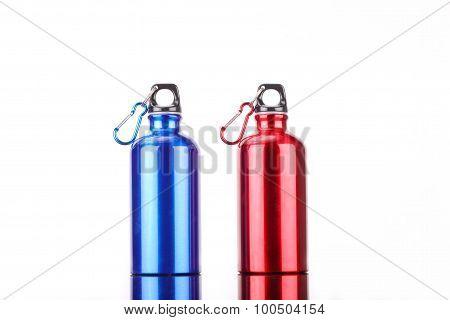 steel bottle isolated on white background
