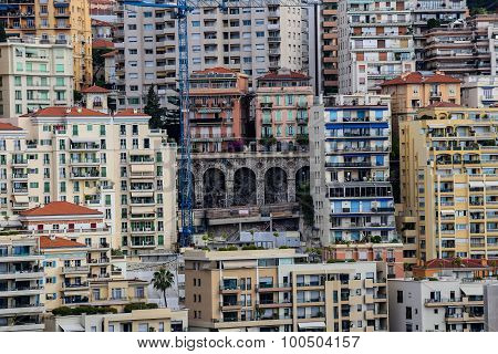 Dense Housing And Old Bridge In Monaco.
