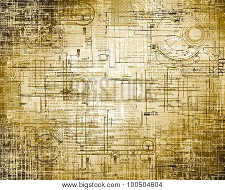 Technology background.Technical and electronic circuits with the effect it scrapes and old paper.