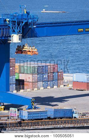 Shore Crane In The Port.