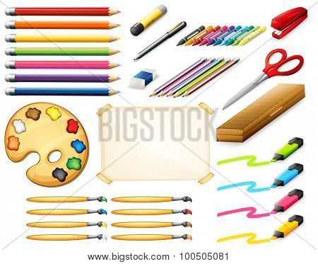 Stationary set with colorpencils and art objects illustration