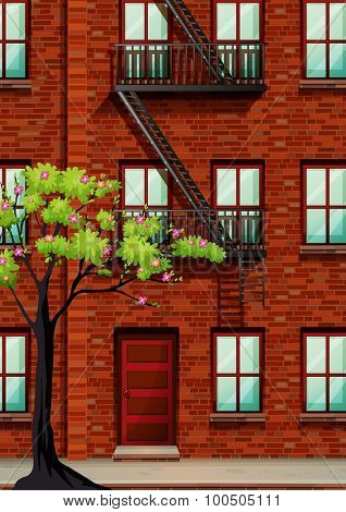 Fire escape on the apartment wall illustration