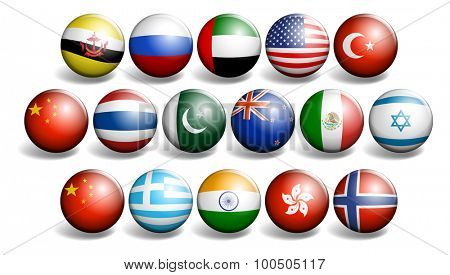 Different country flags on round ball illustration