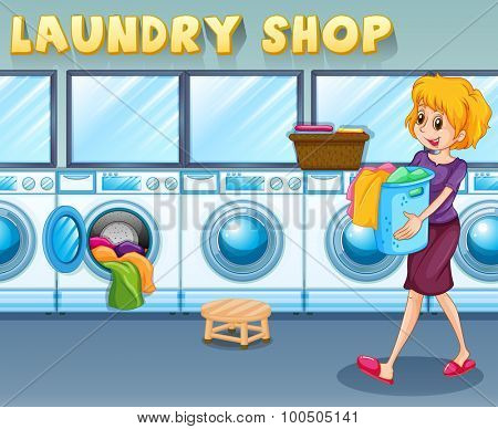 Woman carrying a basket in the laundry shop illustration