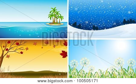 Four view of different seasons illustration