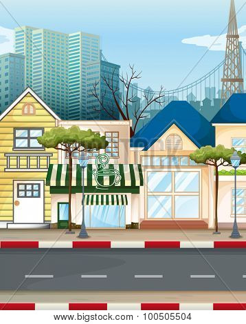 Business area in the city illustration
