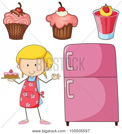Girl baking cake and other desserts illustration
