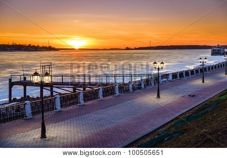 Scenic riverwalk along the Volga River in the city of Kostroma, Russia