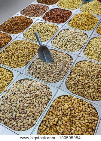 Assortment Of Pistachios In The Arab Market In Souq At Deira