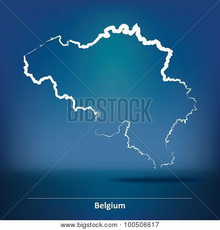 Doodle Map of Belgium - vector illustration