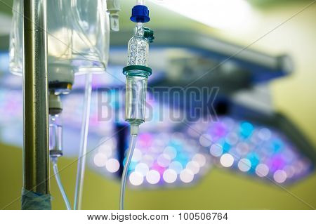 Iv Drip Hanging On A Pole In Hospital