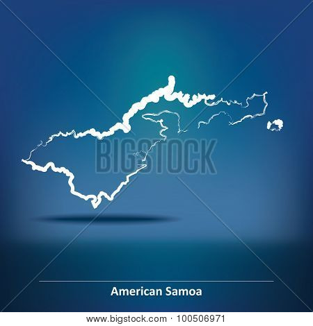 Doodle Map of American Samoa - vector illustration
