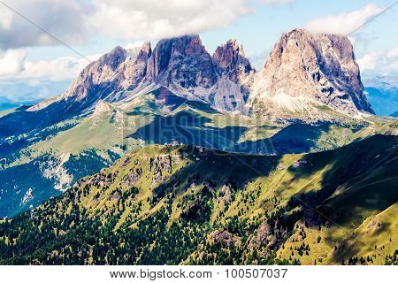 Panoramic View Of The Langkofel Group, A Massif In The Dolomites Mountains