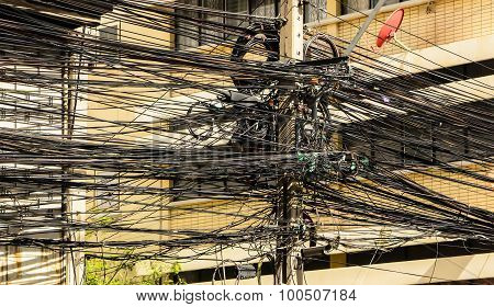 Tangle of electrical Wires background