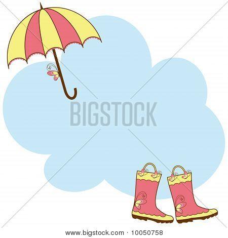 Illustration cute rain boots and umbrella