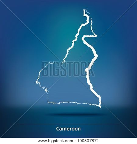 Doodle Map of Cameroon - vector illustration