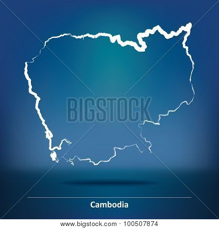 Doodle Map of Cambodia - vector illustration