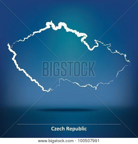 Doodle Map of Czech Republic - vector illustration