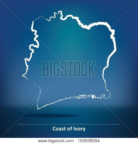 Doodle Map of Coast of Ivory - vector illustration