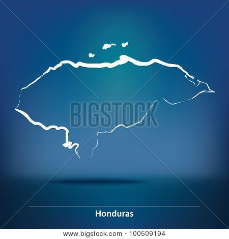 Doodle Map of Honduras - vector illustration