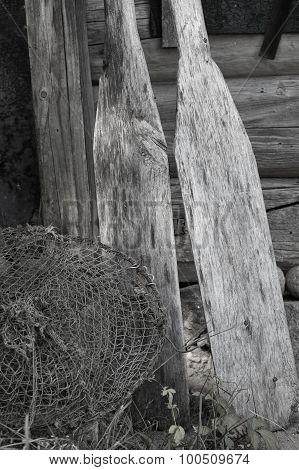 Fishing Net And Oars