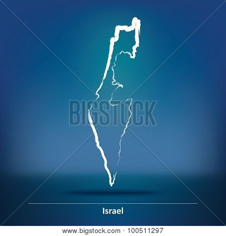 Doodle Map of Israel - vector illustration