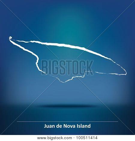 Doodle Map of Juan de Nova Island - vector illustration