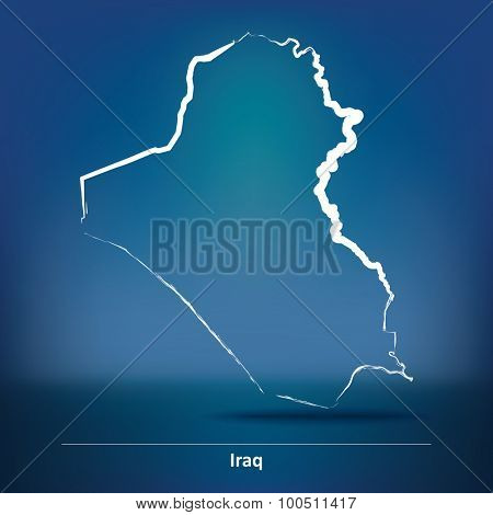 Doodle Map of Iraq - vector illustration