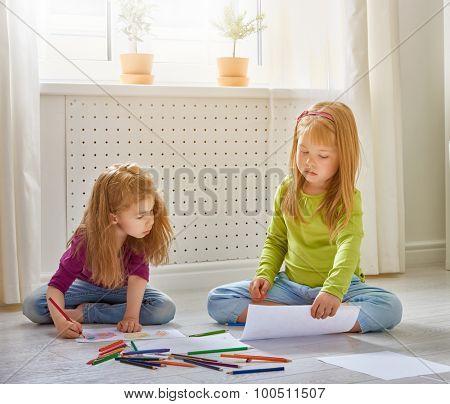 happy children paint together