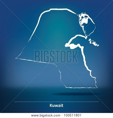 Doodle Map of Kuwait - vector illustration