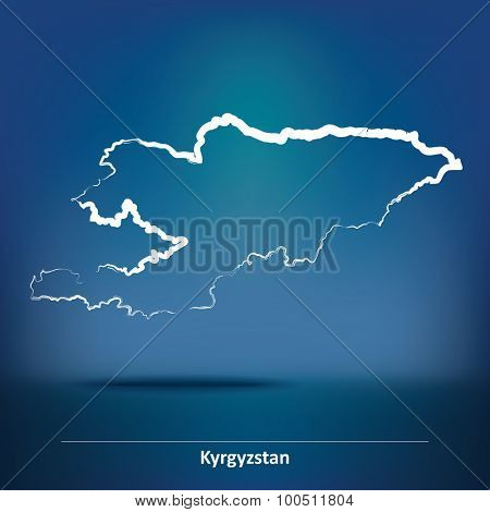 Doodle Map of Kyrgyzstan - vector illustration