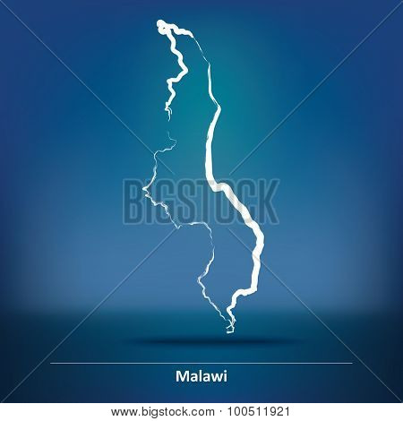 Doodle Map of Malawi - vector illustration